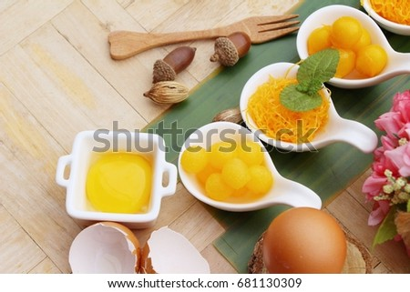 golden sweet is egg yolk  ,Thai dessert #681130309