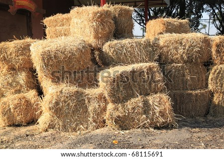 A stack of grass hay bales #68115691