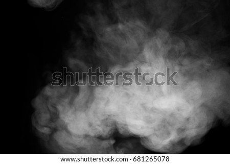 close up of steam smoke on black background Royalty-Free Stock Photo #681265078