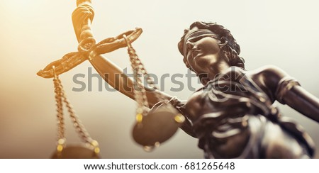 The Statue of Justice symbol, legal law concept image Royalty-Free Stock Photo #681265648