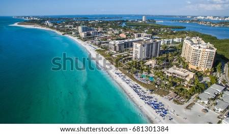Lido Beach on Lido Key in Sarasota Florida shot by Aerial Drone