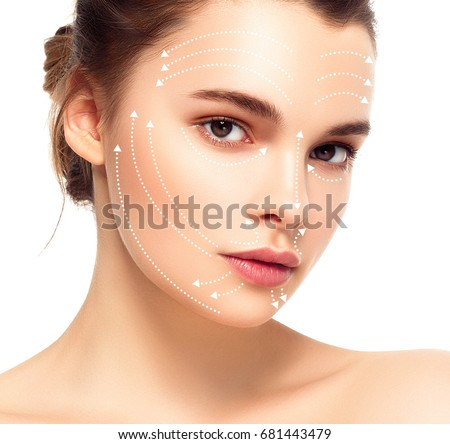 Woman face with massage lines #681443479