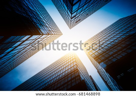 Skyscrapers from a low angle view in city of China. #681468898