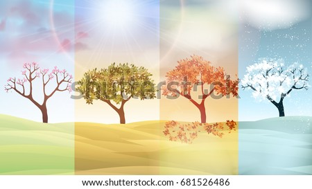 Four Seasons Banners with Abstract Trees and Hills  - Vector Illustration Royalty-Free Stock Photo #681526486
