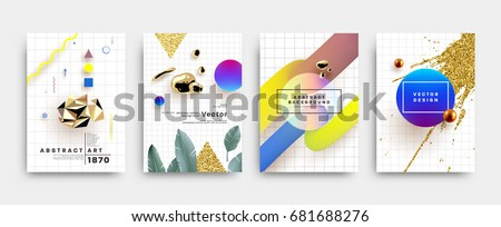 Covers templates set with memphis, bauhaus and contemporary art elements with geometric and liquid shapes. Modern design for placards, posters, certificates, banners and flyers. Vector illustrations. #681688276