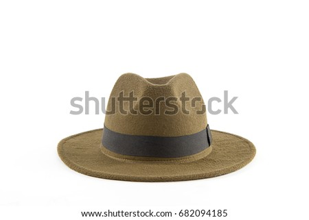 A classic low crown fedora hat. Isolated on white background #682094185