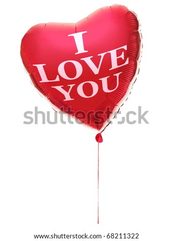 Heart balloon for valentines day with text: I love you. Red heart isolated on white background.