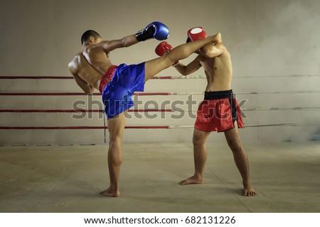 Muay thai martial art - Boxing  Royalty-Free Stock Photo #682131226