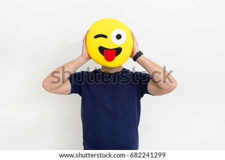 Funny boy with smile pillow instead a head #682241299