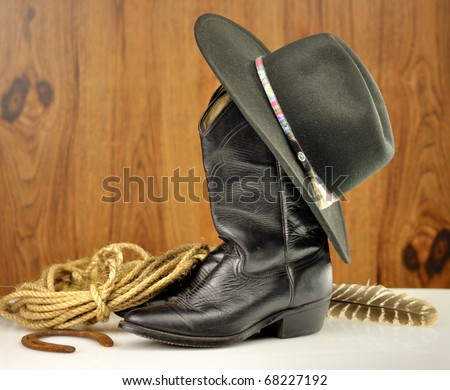 black cowboy hat and boots #68227192