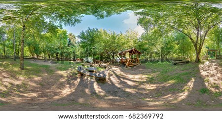 Full spherical 360 degrees seamless panorama in equirectangular equidistant projection, panorama in park green zone, VR content