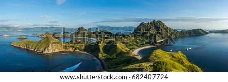 Clear blue sky and sea at Padar island, Flores, Indonesia #682407724