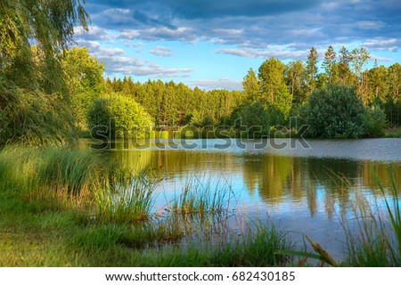 A clean calm lake on a summer evening among trees in the forest, the concept of ecology, travel, tourism #682430185