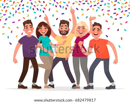 Happy people celebrate an important event. Joyful emotions. Vector illustration in cartoon style