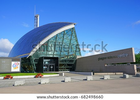 GLASGOW, SCOTLAND -11 JUL 2017- Exterior view of the Glasgow Science Centre, a complex of three modern titanium buildings located in the Clyde Waterfront Regeneration area in Glasgow, Scotland. #682498660