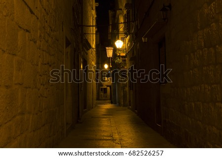 Trogir, Croatia - 2017-07-19, Beautiful old city at night. #682526257