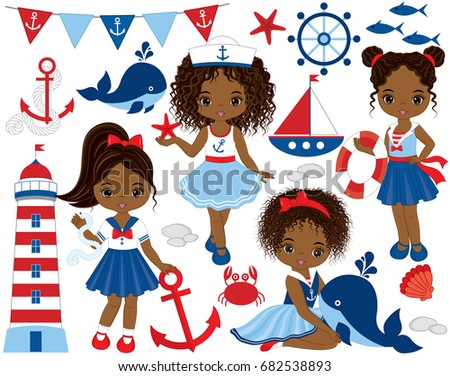 Vector nautical set with cute little African American girls, whale, anchor, crab, fish, anchor, ship and lighthouse Vector nautical girls with various hairstyles. Nautical girls vector illustration