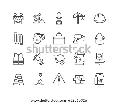 Simple Set of Construction Related Vector Line Icons.  Editable Stroke. 48x48 Pixel Perfect. Royalty-Free Stock Photo #682565326