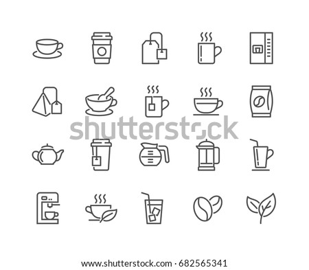 Simple Set of Coffee and Tea Related Vector Line Icons.  Editable Stroke. 48x48 Pixel Perfect. #682565341