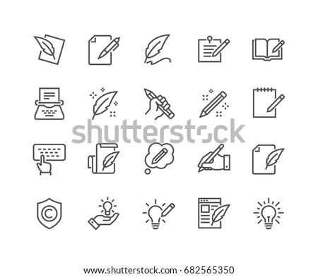 Simple Set of Copywriting Related Vector Line Icons.  Editable Stroke. 48x48 Pixel Perfect. #682565350