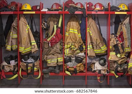 Firefighter locker room