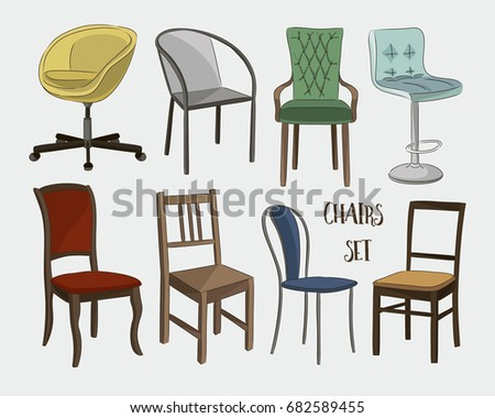 Set of armchairs and chairs and tables set. Architecture interior design home and office furniture. Isolated on white #682589455