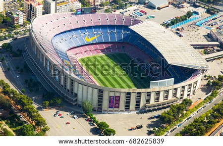 BARCELONA, SPAIN - AUGUST 7, 2016: Aerial view at Camp Nou, famous footbal stadium in Barcelona of Catalonia, Spain