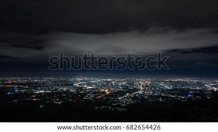 Doi Suthep Chiangmai night view before the rain #682654426