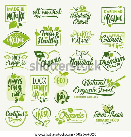 Organic food, farm fresh and natural product icons and elements collection for food market, ecommerce, organic products promotion, healthy life and premium quality food and drink. Royalty-Free Stock Photo #682664326