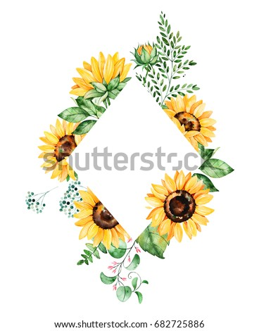 Beautiful watercolor rhombus frame border with sunflowers,leaves,branches,fern leaves etc.Handpainted illustration.Can be used for greeting card,wedding,Birthday and baby cards,invitation,lettering