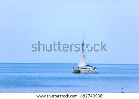 Travel boat in the sea on Samui beach , Thailand 22-07-2017 #682740538