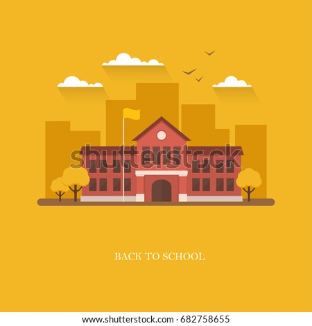 School building in flat style on bright orange background. Back to school banner design concept. College, university, academy vector illustration Royalty-Free Stock Photo #682758655