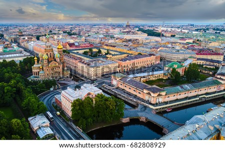 Panorama of St. Petersburg. Panorama of Savior on Spilled Blood. Channel Griboyedov. #682808929