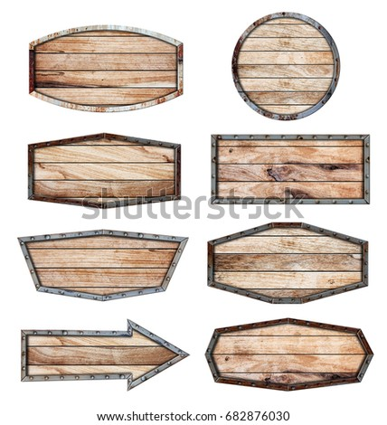 Wood sign with metal frame on chain isolated on white background, With objects clipping path for design work #682876030