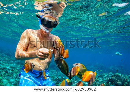 Happy family vacation - man in snorkeling mask dive underwater with tropical fishes in coral reef sea pool. Travel lifestyle, water sport outdoor adventure, swimming lessons on summer beach holiday #682950982