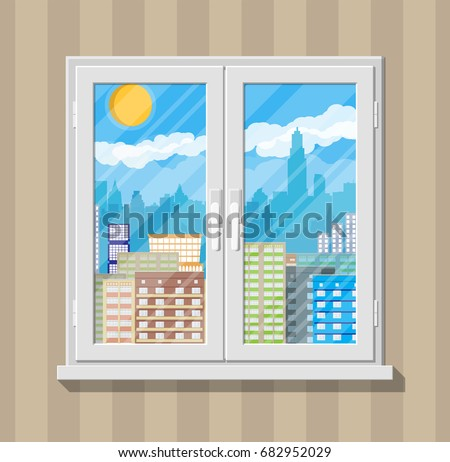 City skyline silhouette at day behind window. Skyscappers, towers, office and residental buildings. Sky, clouds and sun. illustration in flat style #682952029