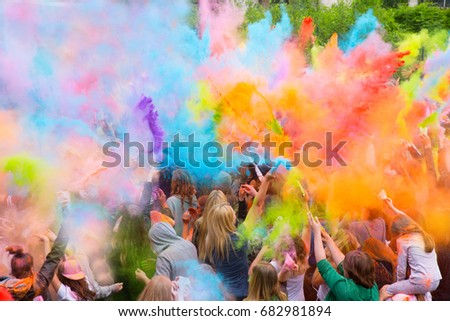 People during Festival of colours #682981894