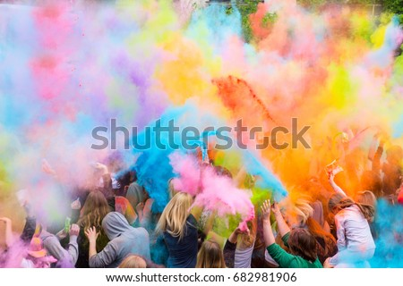 People during Festival of colours #682981906
