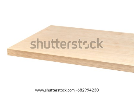 Perspective view of wooden table corner isolated on white background including clipping path  #682994230