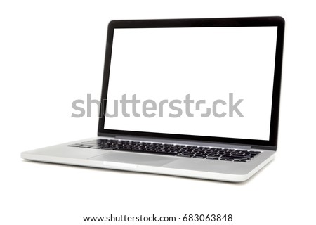 Modern laptop isolated on the white background Royalty-Free Stock Photo #683063848
