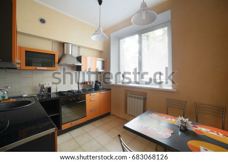 beautiful and model interior of bright kitchen #683068126