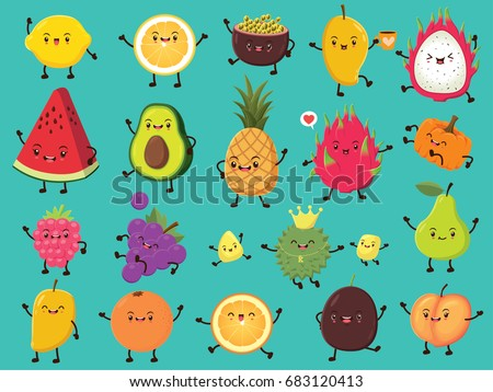 Vintage food poster design with vector lemon, passion fruit, mango, dragon fruit, avocado, pineapple, pumpkin, cherry, grapes, durian, pear, orange, peach character. #683120413