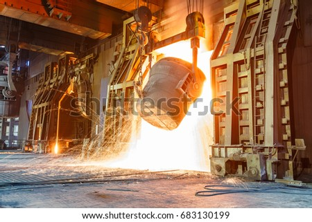 Blast furnace smelting liquid steel in steel mills #683130199