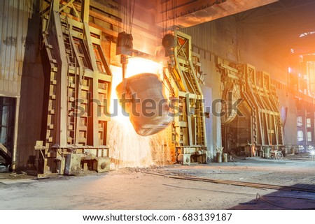 Blast furnace smelting liquid steel in steel mills #683139187