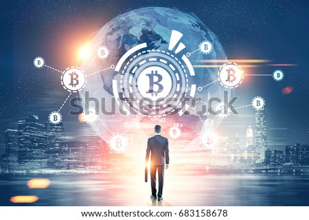 Rear view of a businessman with a suitcase looking at a bitcoin network with a bitcoin sign inside an HUD, world map. Night city. Toned image double exposure Elements of this image furnished by NASA #683158678