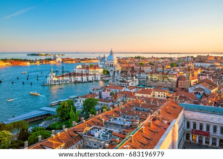 Top view of old town Vanice at sunset in Italy #683196979