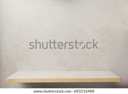 wooden shelf at wall background texture Royalty-Free Stock Photo #683216488