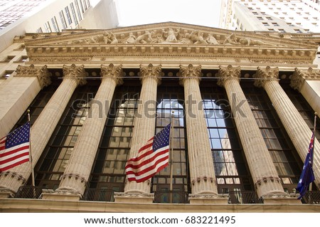 New York Stock Exchange at Wall Street. Manhattan NYC, Hudson, Financial District. Nice view from the water at touristic Big Apple. Skyline landmark United States of America.