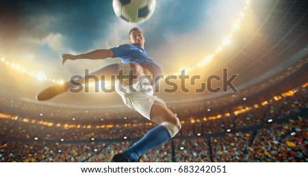 Soccer player kicks the ball with his feet in mod air during a soccer game on a professional outdoor soccer stadium. He wears unbranded soccer uniform. Stadium and crowd are made in 3D. #683242051