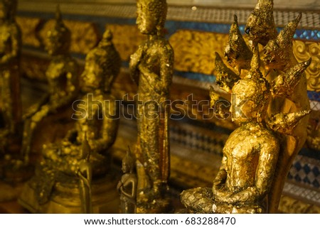 Golden Buddha statue in the temple, Thailand #683288470